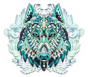 Patterned head of the wolf or dog on the background with acanthu vector illustration