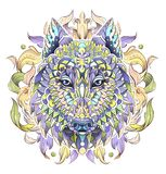 Patterned head of the wolf or dog on the background with acanthu stock illustration