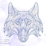 Patterned head of the wolf Royalty Free Stock Photography