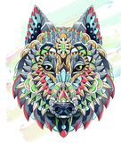 Patterned head of the wolf on the grunge background. Dog vector illustration