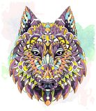 Patterned head of the wolf on the grunge background. Dog stock illustration