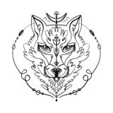 Patterned head of the wolf, animal face on white background. African or indian totem, boho style, flash tattoo design. Patterned head of the wolf mask, animal vector illustration