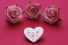Patterned heart and roses Stock Image