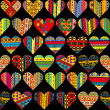 Patterned hearts collection, seamless background Stock Photos