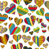 Patterned hearts seamless background Stock Images
