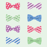 Patterned Hipster Bow Ties Vector Illustration Royalty Free Stock Photo