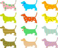 Patterned hound dogs Stock Photo