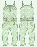 Patterned jumpsuit. Ruffle at top. Front and back view of a patterned jumpsuit. Ruffle at top royalty free illustration