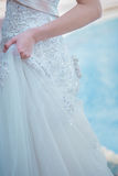 Patterned lace skirt bride`s beautiful Fine prepared spousal int. O a symbol of love and happiness Royalty Free Stock Photos