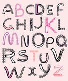Patterned letters, alphabet lace Royalty Free Stock Photos