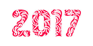Patterned letters font. Red hand drawn symbol of the year 2017. Red openwork inscription 2017.  Red hand drawn symbol of the year 2017. Patterned letters font Royalty Free Stock Image