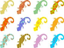 Patterned lizards. Artistic abstract wallpaper background design with patterned lizards Stock Photography