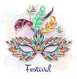 Patterned mask on the grunge background. Mardi Gras festival vector illustration