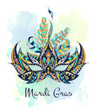 Patterned mask on the grunge background. Mardi Gras festival. Tattoo design. It may be used for design of a t-shirt, bag, postcard, a poster and so on Royalty Free Stock Image