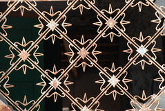 Patterned metal shutter, Halki Stock Image