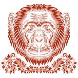 Patterned monkey head. Fiery monkey head. Patterned abstract concept in antique style Stock Image
