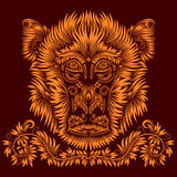 Patterned monkey head. Fiery monkey head. Patterned abstract concept in antique style Stock Photo