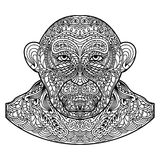 Patterned monkey head isolated on white background. Royalty Free Stock Photography
