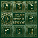 Patterned monogram kit. Golden letters and ornamental square frames for creating initial logo in vintage oriental style.  Stock Photos