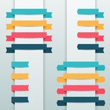 Patterned origami retro ribbons and tags Stock Image
