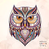 Patterned Owl On The Grunge Background Royalty Free Stock Images