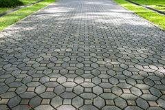 Patterned Paving Tiles, Cement Brick Floor Background Stock Photo