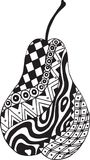 Patterned pear. Illustration of black and white graphic pear Royalty Free Stock Photo