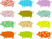 Patterned pigs. Artistic abstract wallpaper background of isolated patterned pigs Royalty Free Stock Image