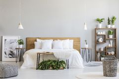 Patterned pouf and basket in bright bedroom interior with lamps,. Plants and poster next to bed. Real photo royalty free stock photos