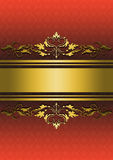 Patterned red background with gold ribbons and golden ornament Royalty Free Stock Image