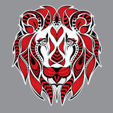 Patterned red head of the lion on the grey background. African / indian / totem / tattoo design. It may be used for design of a t-. Shirt, bag and poster Royalty Free Stock Photo