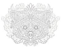 Patterned red panda on the floral background. Tattoo design. It may be used for design of a t-shirt, bag, postcard, a poster and so on Royalty Free Stock Photo
