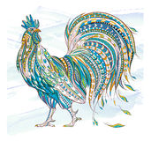 Patterned rooster. On the grunge background. Symbol of chinese new year / African / indian / totem / tattoo design. It may be used for design of a t-shirt, bag Royalty Free Stock Photos