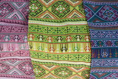 Patterned sarongs sold in the market. Royalty Free Stock Photography