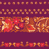 Patterned seamless borders.Russian painting Royalty Free Stock Images