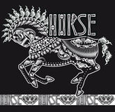 Patterned silhouette of a running horse, monochrome Royalty Free Stock Image