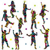 Patterned silhouettes of children Stock Images
