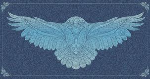 Patterned snowy owl stock illustration