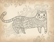 Patterned stylized cat Royalty Free Stock Images