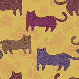 Patterned  stylized cats seamless pattern Royalty Free Stock Image