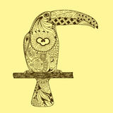 Patterned toucan drawing. Hand Drawn doodle vector illustration. On yellow background. Zentangle Style Stock Photography