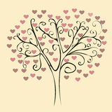 Patterned tree with red hearts Stock Image