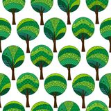 Patterned Trees, Seamless Pattern Royalty Free Stock Image