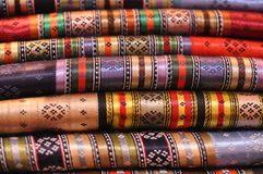 Patterned Turkish fabric. Details of colorful patterned traditional Turkish fabric Royalty Free Stock Image