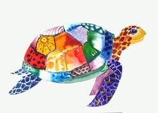 Patterned turtle swims to the right vector illustration