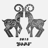 Patterned two goats - a symbol of new 2015. Black and white concept for a card. Stock Photo