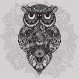 Patterned vector owl on the ornamental mandala background. African, indian, totem, tattoo design. Vector owl in tribal Royalty Free Stock Photography