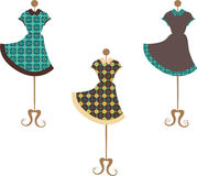 Patterned vintage dresses Royalty Free Stock Image