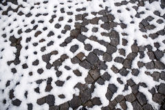 Patterned Walkway with Snow Royalty Free Stock Photo