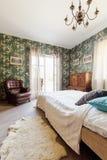 Patterned wallpaper bedroom Stock Photos